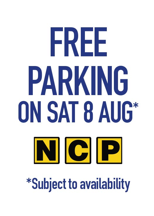 Free Parking on Saturday 8 August!